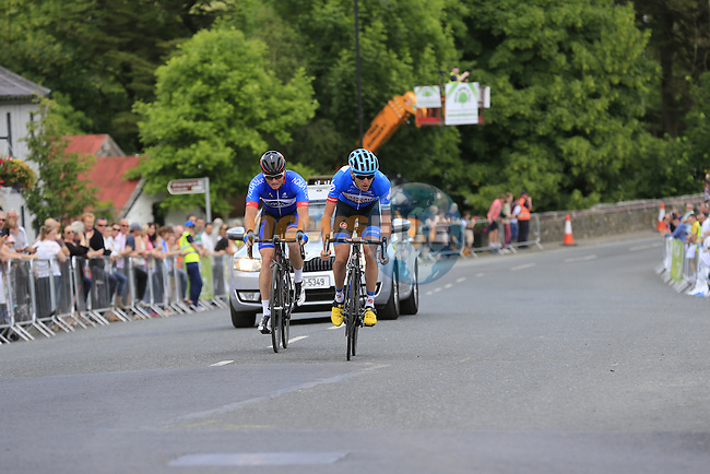 Dan Martin (Garmin-Sharp) and Damien Shaw on the final lap during the Irish National Men's Elite Road Race Championships held over an undulating course featuring 9 laps centered around the village of Multyfarnham, Co.Westmeath, Ireland. 29th June 2014.<br /> Picture: Eoin Clarke www.newsfile.ie