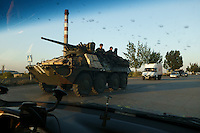 Ukrainian armored personnel carrier on the streets of Mariupol after a clash outside the city.