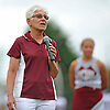 Nancy Kalafus, former Garden City Athletic Director, honors the memory of late historian and statistician Jack &quot;Jake&quot; White during a ceremony in his honor prior to the start of a Nassau County Conference II varsity football game against Manhasset at Garden City High School on Saturday, September 12, 2015.<br />