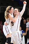 SIOUX FALLS, SD: MARCH 6: Sydney Hall #42 celebrates with teammate Kelsi Byrd #3 after IUPUI defeated South Dakota State during the Summit League Basketball Championship on March 6, 2017 at the Denny Sanford Premier Center in Sioux Falls, SD. (Photo by Dave Eggen/Inertia)