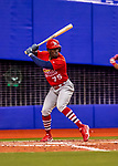 26 March 2018: St. Louis Cardinals outfielder Adolis Garcia in action during an exhibition game against the Toronto Blue Jays at Olympic Stadium in Montreal, Quebec, Canada. The Cardinals defeated the Blue Jays 5-3 in the first of two MLB pre-season games in the former home of the Montreal Expos. Mandatory Credit: Ed Wolfstein Photo *** RAW (NEF) Image File Available ***