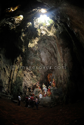 Asia, Vietnam, near Da Nang. The biggest cave Dong Huyen Khong within the famous buddhist sanctuaries at the Ngu Hanh Son or Marble Mountains.
