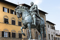 Low angle view of bronze equestrian statue of Cosimo I de' Medici (12 June, 1519 - 21 April 1574), Duke of Florence and first Grand Duke of Tuscany, by Giambologna, born as Jean Boulogne, incorrectly known as Giovanni da Bologna and Giovanni Bologna (1529 - 13 August 1608), erected in 1598, Piazza della Signoria, Florence, Italy, pictured on 9 June, 2007 in tha afternoon. Picture by Manuel Cohen