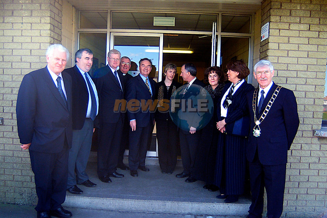 TD Seamus Kirk,Cllr Sean Collins,Cllr Frank Maher, Fr Paddy Kearey, Minister for Education Dr Michael Woods, Prinicpal Dympna McKenna, Minister Dermot Ahearn,Cllr Maria Campbell- O Brien,Mayoress Christine Mulroy,and Mayor Jimmy Mulroy,in St John,s School.  ..Pic Tony Campbell/Newsfile