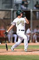 Oakland Athletics shortstop Trent Gilbert (10) during an Instructional League game against the San Francisco Giants on October 15, 2014 at Papago Park Baseball Complex in Phoenix, Arizona.  (Mike Janes/Four Seam Images)