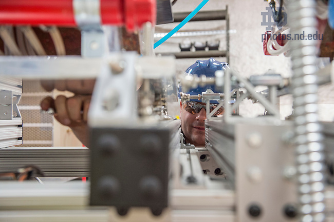 Jan 21, 2016; Daniel Robertson, Research Assistant Professor assembles the Compact Accelerator System in the CASPAR Lab at the Sanford Underground Research Facility in Lead, South Dakota. Robertson hopes to have the accelerator up and running this spring to perform astrophysical research. (Photo by Barbara Johnston/University of Notre Dame)