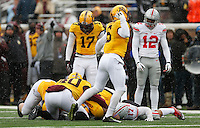 Minnesota Golden Gophers defensive back Grayson Levine (6) reacts as the Minnesota Golden Gophers recover a fumble by Ohio State Buckeyes running back Jalin Marshall (17) in the fourth quarter of the college football game between the Ohio State Buckeyes and the Minnesota Golden Gophers at TCF Bank Stadium in Minneapolis, Saturday morning, November 15, 2014. The Ohio State Buckeyes defeated the Minnesota Golden Gophers 31 - 24. (The Columbus Dispatch / Eamon Queeney)