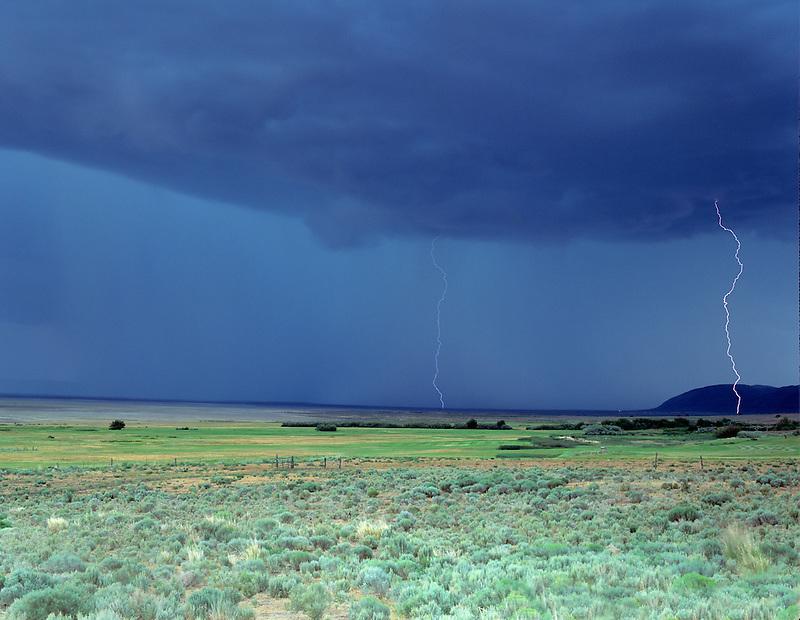 Lightening strikes over farmland. Near Paisley, Oregon