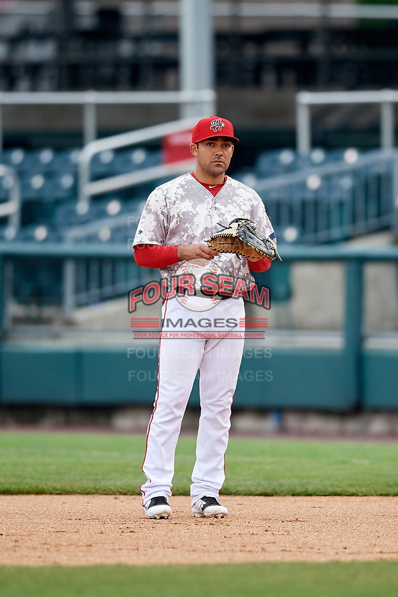 Harrisburg Senators first baseman Austin Davidson (8) during the second game of a doubleheader against the New Hampshire Fisher Cats on May 13, 2018 at FNB Field in Harrisburg, Pennsylvania.  Harrisburg defeated New Hampshire 2-1.  (Mike Janes/Four Seam Images)