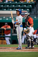 St. Lucie Mets right fielder Enmanuel Zabala (10) at bat during the second game of a doubleheader against the Lakeland Flying Tigers on June 10, 2017 at Joker Marchant Stadium in Lakeland, Florida.  Lakeland defeated St. Lucie 9-1.  (Mike Janes/Four Seam Images)