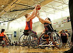 MARSHALL, MN - MARCH 17:  Rose Hollermann #45 from University of Texas Arlington battles for ta rebound with Rosalie Lalonde #4 from Alabama during their championship game at the 2018 National Intercollegiate Wheelchair Basketball Tournament at Southwest Minnesota State University in Marshall, MN. (Photo by Dave Eggen/Inertia)