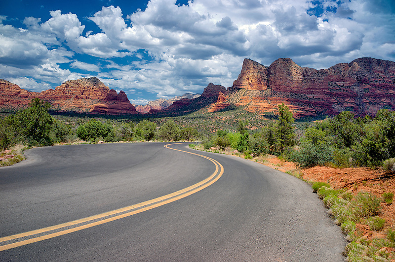Road with clouds. Sedona, Arizona