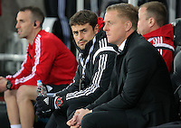 (L-R) Josep Pep Clotet and Swansea manager Garry Monk during the Barclays Premier League match between Swansea City and Leicester City at the Liberty Stadium, Swansea on December 05 2015