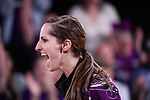 CLAYTON, MO - APRIL 14: Sarah Wille #3 of McKendree University reacts to after bowling a strike during the Division I Women's Bowling Championship held at Tropicana Lanes on April 14, 2018 in Clayton, Missouri. Vanderbilt University defeated McKendree University 4-3. (Photo by Tim Nwachukwu/NCAA Photos via Getty Images)