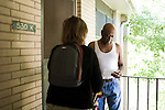 October 31, 2008. Durham, NC..As election day draws near, the electoral ground game in the contested state of North Carolina is going strong.. The Obama campaign has volunteers canvassing public housing sites and getting voters rides to the polls. . Courtney Spann, right, speaks to Linda Huff. Huff arranged a ride for Mr. Spann to the polls Saturday morning.