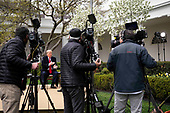 United States President Donald J. Trump participates in a Fox News Virtual Town Hall with Anchor Bill Hemmer, in the Rose Garden of the White House in Washington, DC, Tuesday, March, 24, 2020.<br /> Credit: Doug Mills / Pool via CNP