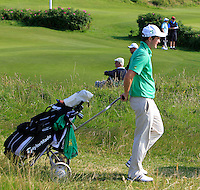 John Ross Galbraith (IRL) walking in during the Afternoon Singles between Ireland and Wales at the Home Internationals at Royal Portrush Golf Club on Thursday 13th August 2015.<br /> Picture:  Thos Caffrey / www.golffile.ie