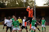 HAREN - Voetbal, Be Quick - HSC 21, derde divisie zondag, seizoen 2017-2018, 05-11-2017,  doelman  doelman Jeffrey Brammer redt stompend