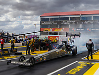 Feb 23, 2018; Chandler, AZ, USA; NHRA top fuel driver Tony Schumacher during qualifying for the Arizona Nationals at Wild Horse Pass Motorsports Park. Mandatory Credit: Mark J. Rebilas-USA TODAY Sports