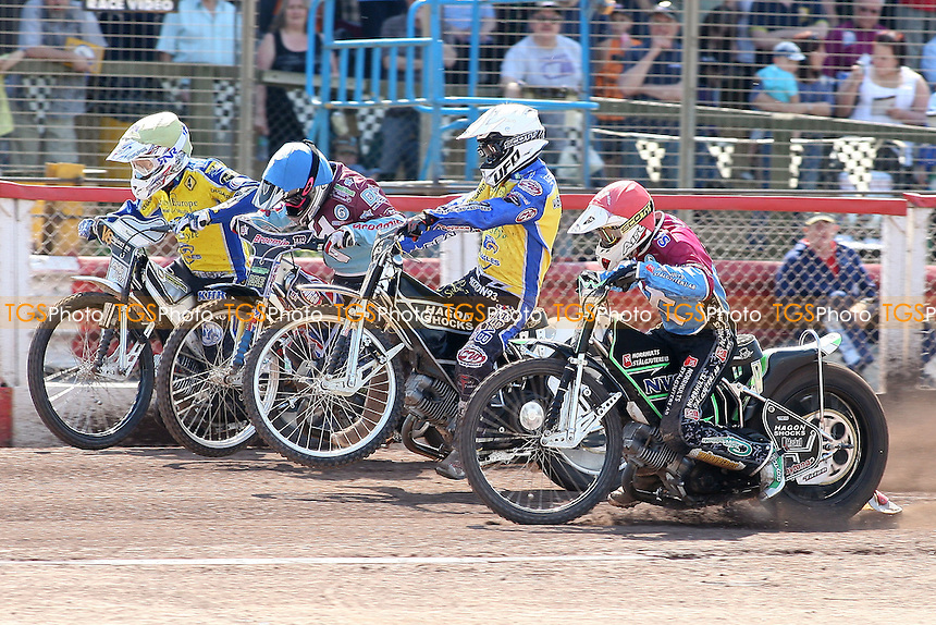 Heat 7: Mear (blue), Woodward (yellow), Gustafsson (white) and Ljung off the start - Lakeside Hammers vs Eastbourne Eagles - Elite League Speedway at Arena Essex Raceway - 22/04/11 - MANDATORY CREDIT: Gavin Ellis/TGSPHOTO - Self billing applies where appropriate - Tel: 0845 094 6026