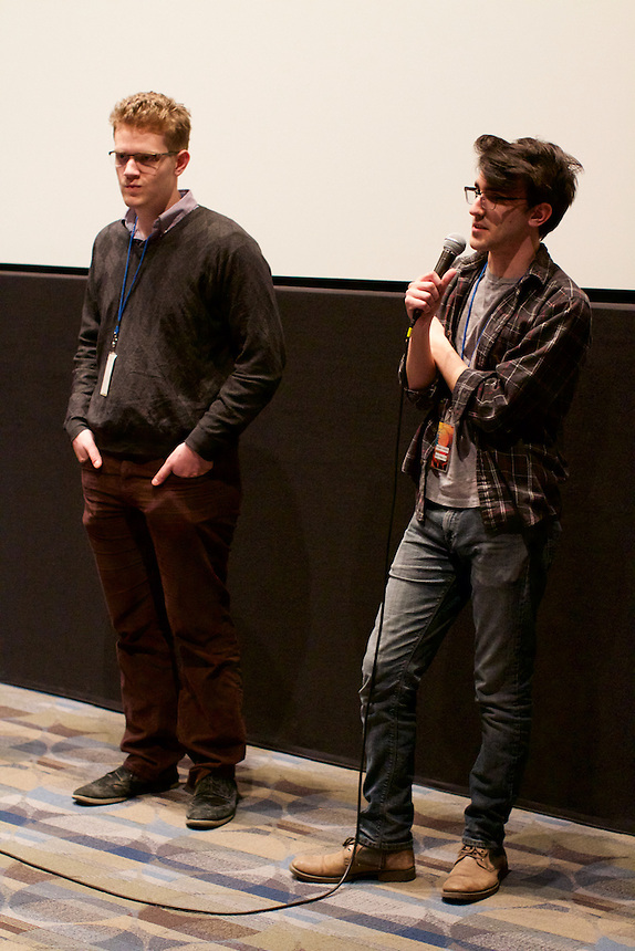 Cooper Vacheron '16 and Jon Denton '18 during the Q&A at the Emerson Film Festival.