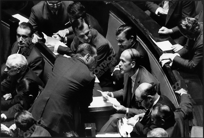 Finance minister Valery Giscard d'Estaing with Economy and Finance secretary of State Jacques Chirac, and PM Jacques Chaban-Delmas (L.), Jacques Baumel, Roger Frey, National Assembly, Paris, France, September 16, 1969