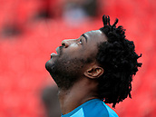 2nd December 2017, bet365 Stadium, Stoke-on-Trent, England; EPL Premier League football, Stoke City versus Swansea City;  Wilfried Bony of Swansea City warming up for the game