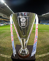 The EFL Trophy on display during the The Checkatrade Trophy - EFL Trophy Semi Final match between Coventry City and Wycombe Wanderers at the Ricoh Arena, Coventry, England on 7 February 2017. Photo by Andy Rowland.