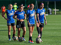 Kansas City, MO - Sunday July 02, 2017:  Sydney Leroux, Shea Groom, Lo'eau Labonta and Brittany Ratcliffe prepare for shooting drills before a regular season National Women's Soccer League (NWSL) match between FC Kansas City and the Houston Dash at Children's Mercy Victory Field.