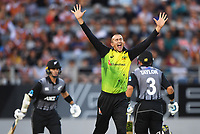 Ashton Agar appeals successfully for a LBW decision to dismiss Chapman.<br /> New Zealand Black Caps v Australia.Tri-Series International Twenty20 cricket final. Eden Park, Auckland, New Zealand. Wednesday 21 February 2018. &copy; Copyright Photo: Andrew Cornaga / www.Photosport.nz