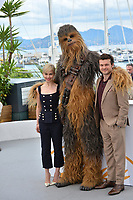 """Chewbacca, Alden Ehrenreich & Emilia Clarke at the photocall for """"Solo: A Star Wars Story"""" at the 71st Festival de Cannes, Cannes, France 15 May 2018<br /> Picture: Paul Smith/Featureflash/SilverHub 0208 004 5359 sales@silverhubmedia.com"""