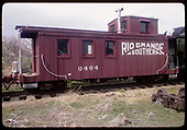 Side view of RGS caboose #0404 displayed at Colorado Railroad Museum.<br /> RGS  Golden, CO  ca. 1970
