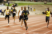 Tyson Gay winning the 200m with a time of 20.00sec. at the Jamaica International Invitational Meet on Saturday, May 3rd 2008. Photo by Errol Anderson, The Sporting Image.
