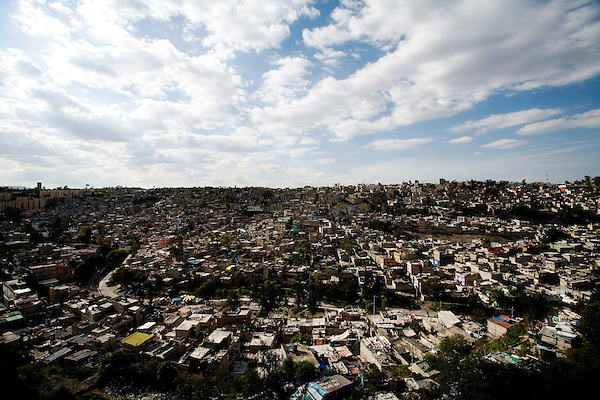 Trash and pollution in the Santa Fe neighborhood of Mexico City.