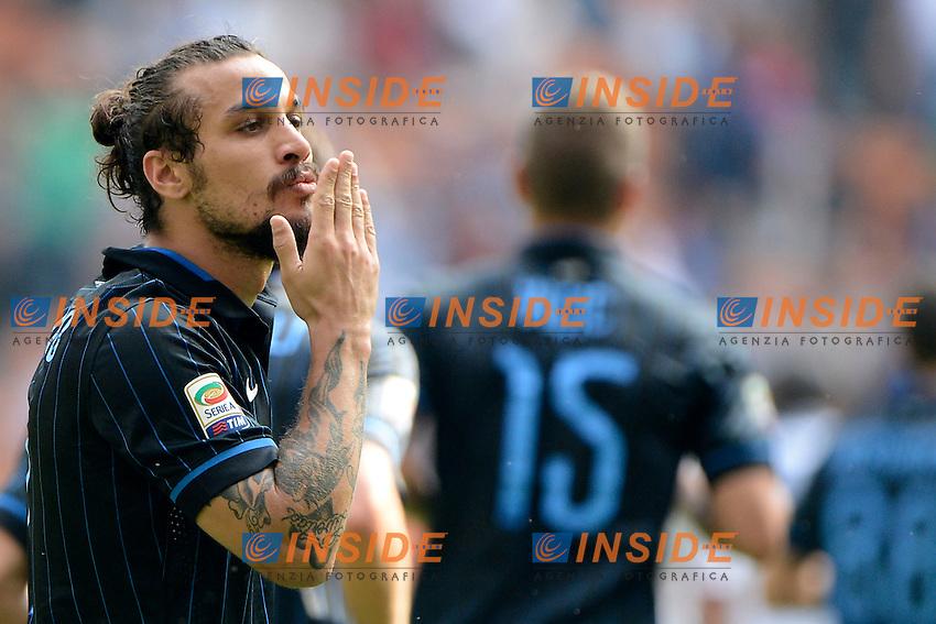Esultanza gol di Daniel Pablo Osvaldo Inter 1-1. Celebration goal<br /> Milano 28-09-2014 Stadio Giuseppe Meazza - Football Calcio Serie A Inter - Cagliari. Foto Giuseppe Celeste / Insidefoto