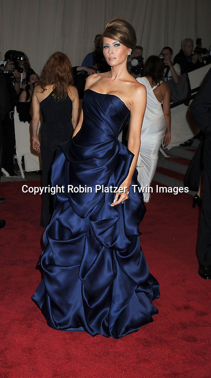Melania Trump arriving at The Costume Institute Gala Benefit celebrating American Woman: Fashioning a National Identity at The Metropolitan Museum of Art on May 3, 2010 in New York City.