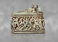 "Roman relief sculpted sarcophagus depicting a scene with Dionysus made in a Greek Attica workshop, 3rd century AD, Perge Inv 1.35.99. Antalya Archaeology Museum, Turkey.<br /> <br /> The lid of the sarcophagus is sculpted into the form of a ""Kline"" style Roman couch on which lie Julianus &  Philiska. This type of Sarcophagus is also known as a Sydemara Type of Tomb."