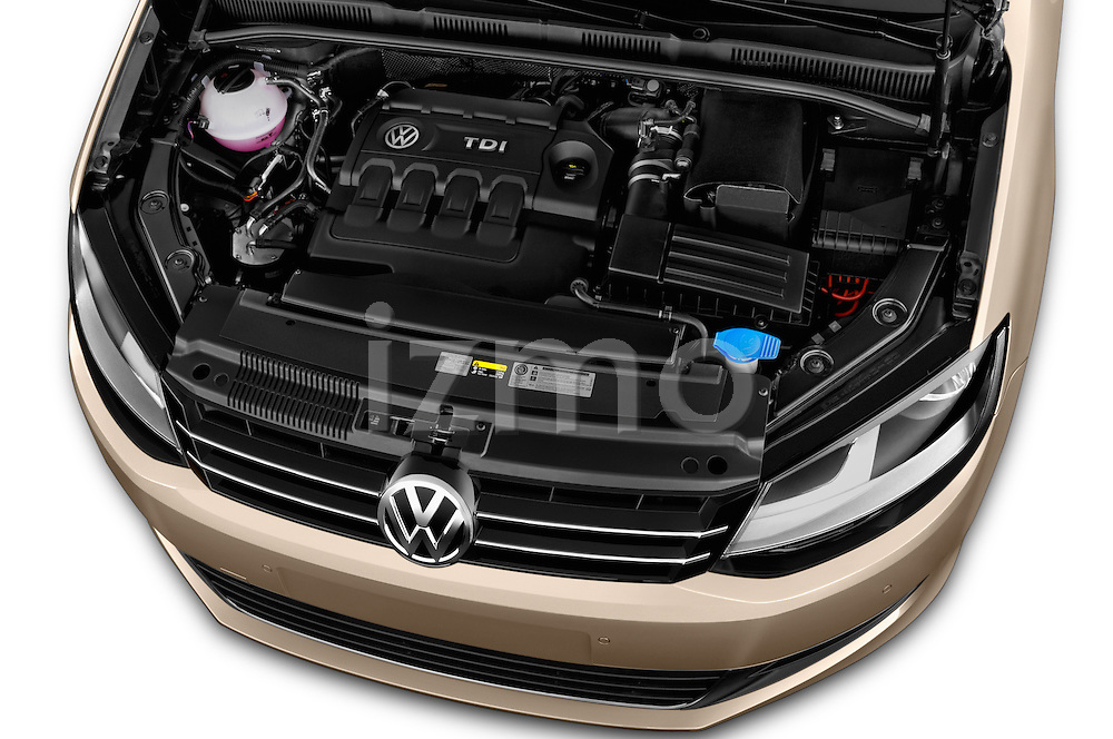 Car Stock 2016 Volkswagen Sharan Confortline 5 Door Minivan Engine high angle detail view