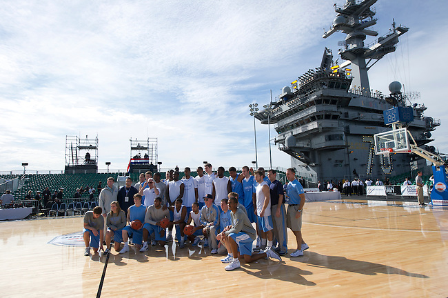SAN DIEGO, CA - NOVEMBER 11, 2011: The North Carolina Tar Heels posing for a team photo while on the USS Carl Vinson prior to the start of the 2011 Quicken Loans Carrier Classic versus the Michigan State Spartans..(Photo by Scott Clarke / ESPN)..- RAW FILE AVAILABLE -.- CMI000165155.jpg -
