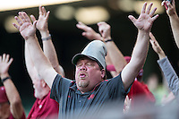 An Arkansas Razorbacks fan does the 'Woooooooo Pig Sooie!' chant during the NCAA baseball game against the Houston Cougars in game five of the Shriners Hospitals for Children Classic at Minute Maid Park on February 27, 2016 in Houston, Texas.  (Brian Westerholt/Four Seam Images)