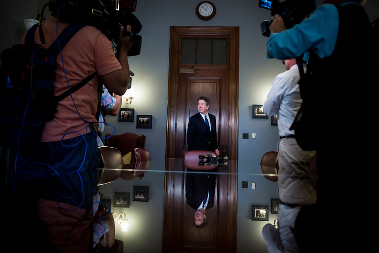 UNITED STATES – JULY 30: Supreme Court nominee Brett Kavanaugh waits to meet Richard Shelby, R-Ala., in his office in the Russell Office Building Monday July 30, 2018.  (Photo By Sarah Silbiger/CQ Roll Call)