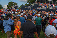 Brooks Koepka (USA) departs 18 to sign his score card after winning the 100th PGA Championship at Bellerive Country Club, St. Louis, Missouri. 8/12/2018.<br /> Picture: Golffile | Ken Murray<br /> <br /> All photo usage must carry mandatory copyright credit (&copy; Golffile | Ken Murray)