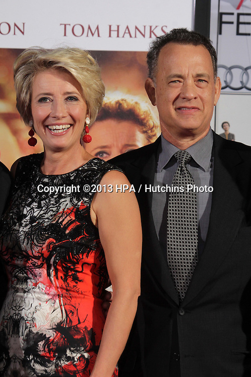 LOS ANGELES - NOV 7:  Emma Thompson, Tom Hanks at the Emma Thompson Hand and Footprint Ceremony at TCL Chinese Theater on November 7, 2013 in Los Angeles, CA\