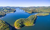 France, Herault, Mounts of Lacaune, La Salvetat sur Agout, Raviege lake (aerial view) // France, Hérault (34), Monts de Lacaune, La Salvetat-sur-Agout, lac de la Raviège (vue aérienne)