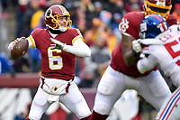 Landover, MD - December 9, 2018: Washington Redskins quarterback Mark Sanchez (6) in the pocket during game between the New York Giants and Washington Redskins at FedEx Field in Landover, MD. The Giants defeated the Redskins 40-16 dropping the Redskins to 6-7 on the season. (Photo by Phillip Peters/Media Images International)