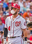 30 August 2015: Washington Nationals outfielder Bryce Harper blows a bubble during a game against the Miami Marlins at Nationals Park in Washington, DC. The Nationals rallied to defeat the Marlins 7-4 in the third game of their 3-game weekend series. Mandatory Credit: Ed Wolfstein Photo *** RAW (NEF) Image File Available ***