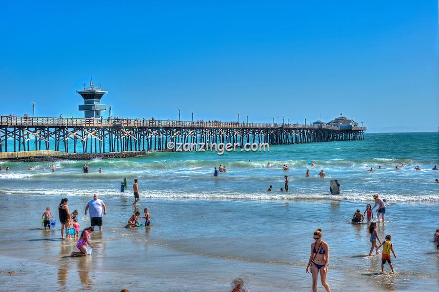 Seal Beach, CA, LA, Beach, Pier, People Walking, Moving, Showing Motion, Orange County, Ocean, Waves