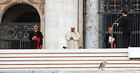 Il presidente del Rinnovamento nello Spirito Santo Salvatore Martinez, a destra, parla durante l'incontro del movimento con Papa Francesco in Piazza San Pietro, Citta' del Vaticano, 3 luglio 2015.<br /> Catholic Charismatic Renewal's President Salvatore Martinez, right, speaks during the meeting of the movement with Pope Francis in St. Peter's Square at the Vatican, 3 July 2015.<br /> UPDATE IMAGES PRESS/Isabella Bonotto<br /> <br /> STRICTLY ONLY FOR EDITORIAL USE