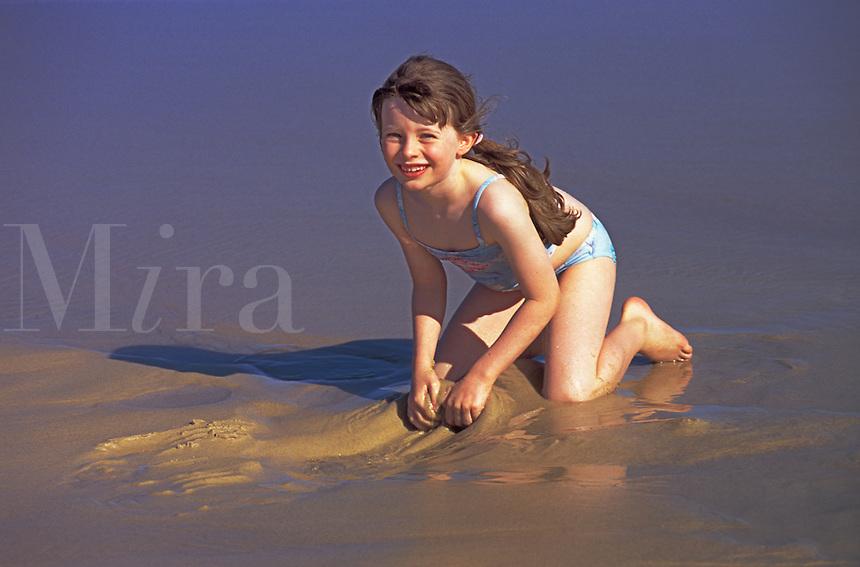 7 year old girl at beach