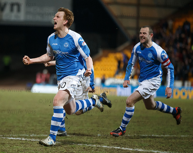Liam Craig celebrates his dramatic last gasp goal for St Johnstone